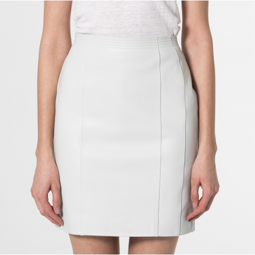 Minerva Leather Skirt White