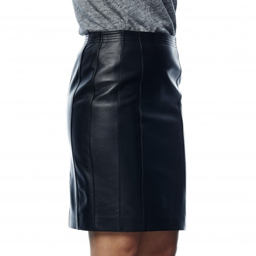 Minerva Leather Skirt Black