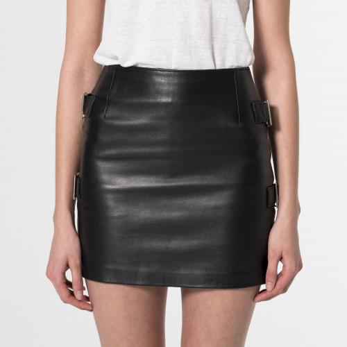 Minifalda cuero Ophelia negro