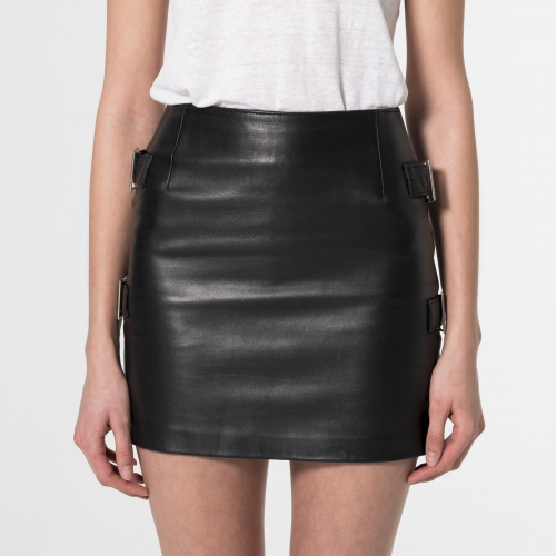 Ophelia Leather miniskirt Black