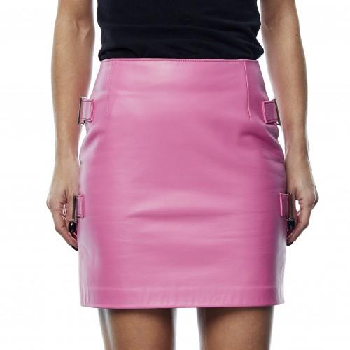 Minifalda de cuero Ophelia rosa