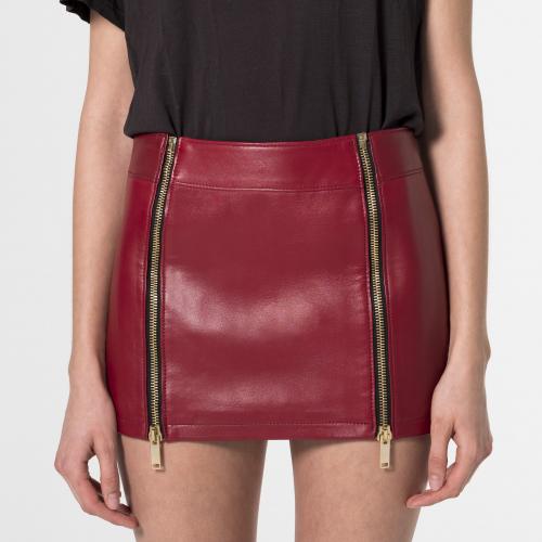 Minifalda de cuero Cressida roja