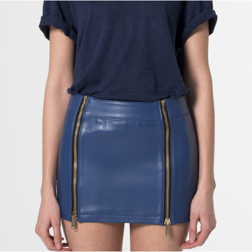 Cressida Leather miniskirt Blue