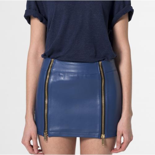 """""""Cressida"""" Minifalda de cuero azul"""