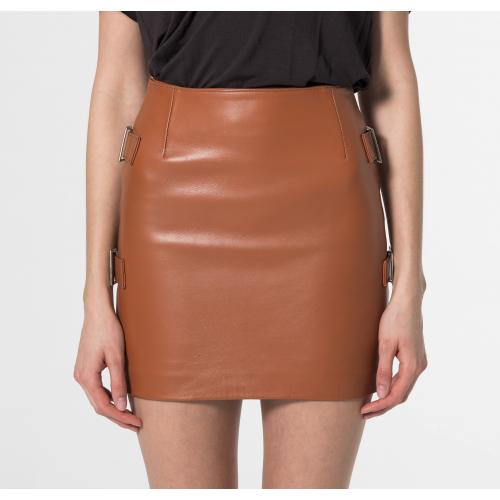 Minifalda de cuero Ophelia camel