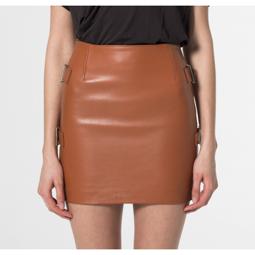 Ophelia Leather miniskirt Camel
