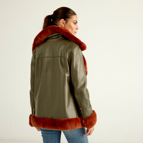 """Artemis"" Coat green rex brown"