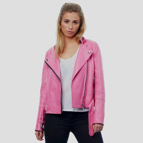 """""""Adrienne"""" Perfecto de cuero rosa"""