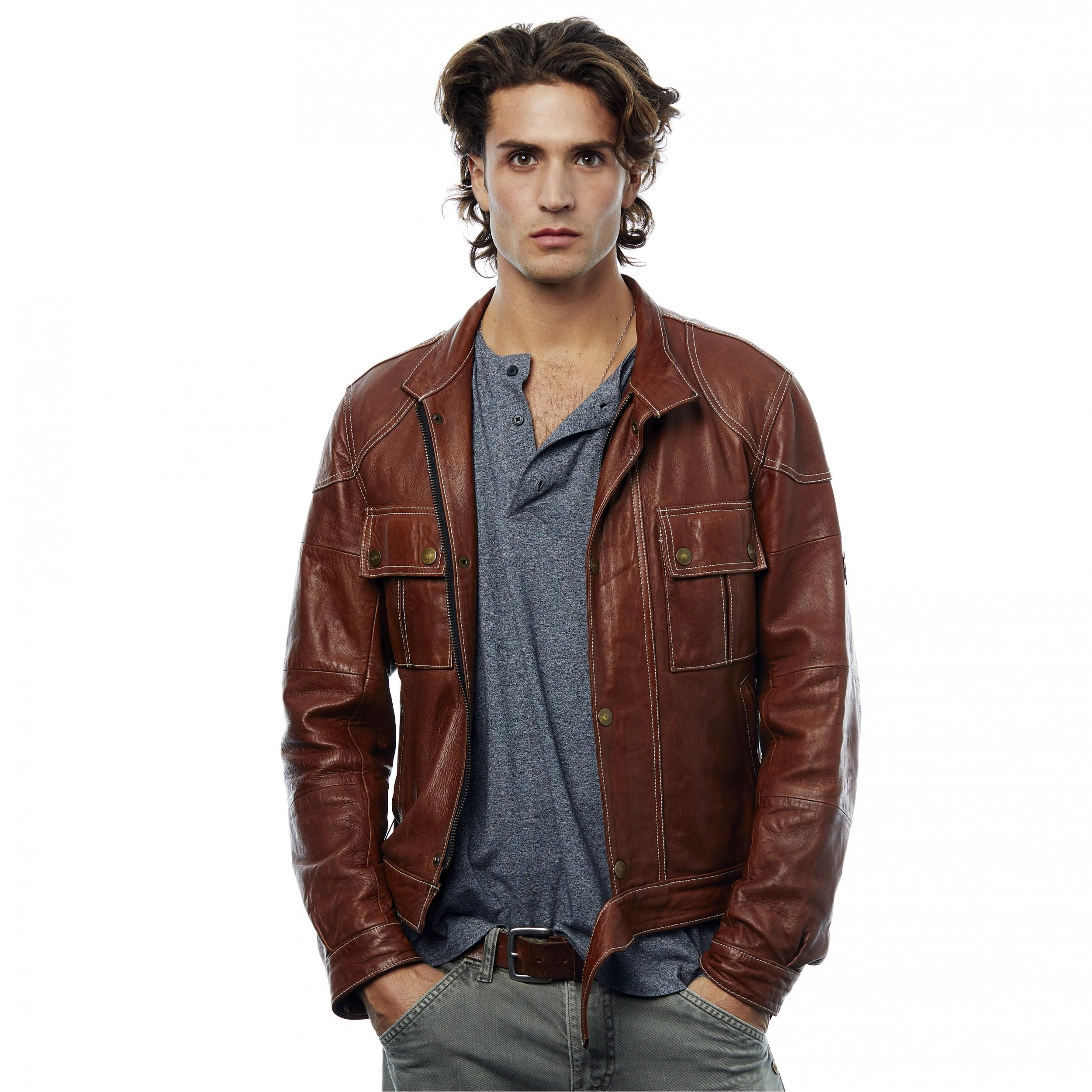 brillo de color nuevo estilo y lujo mejor mayorista Chaqueta cuero Ayax marrón - This Is Osant